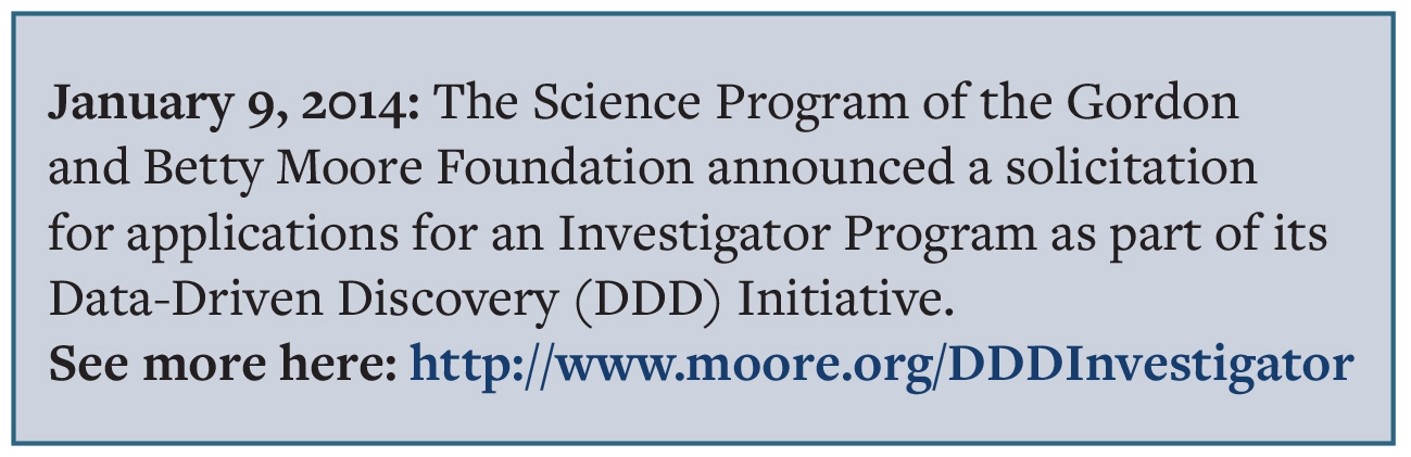 The Science Program of the Gordon and Betty Moore Foundation announced a solicitation for applications for an Investigator Program as part of its Data-Driven Discovery (DDD) Initiative. See more here: http://www.moore.org/DDDInvestigator