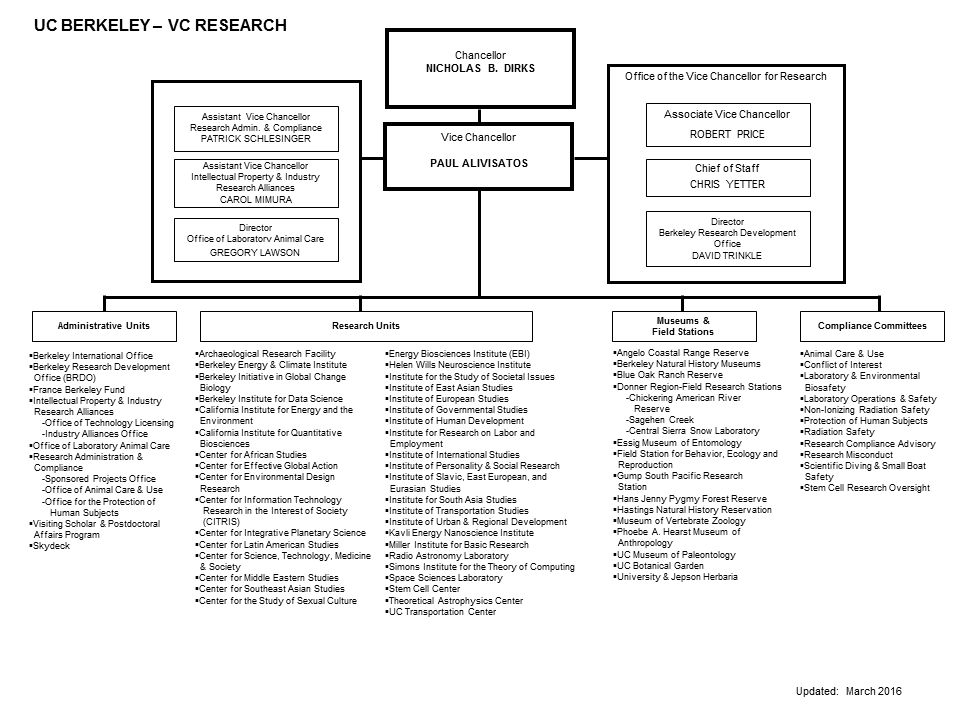 Vice Chancellor for Research organization chart