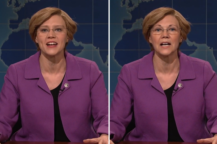 A photo of Saturday night live star Kate McKinnon side by side with a photo in which McKinnon's face has been swapped with Warren's
