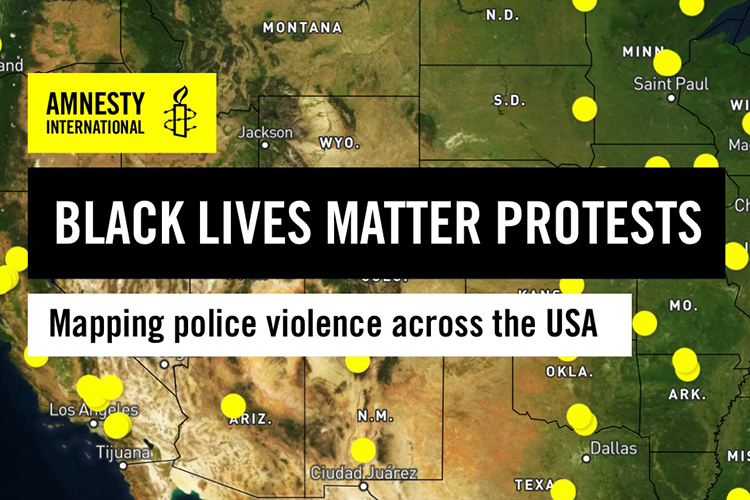 A map of the U.S. shows 125 yellow dots where police used excessive force against people protesting racial injustice and police violence.