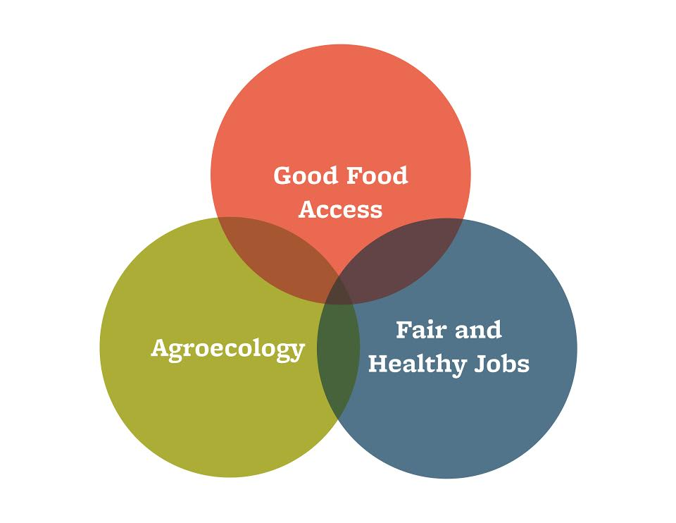 graphic showing the intersections between Good Food Access, Agroecology, and Fair and Healthy Jobs