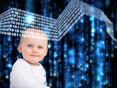 Baby against binary code backdrop