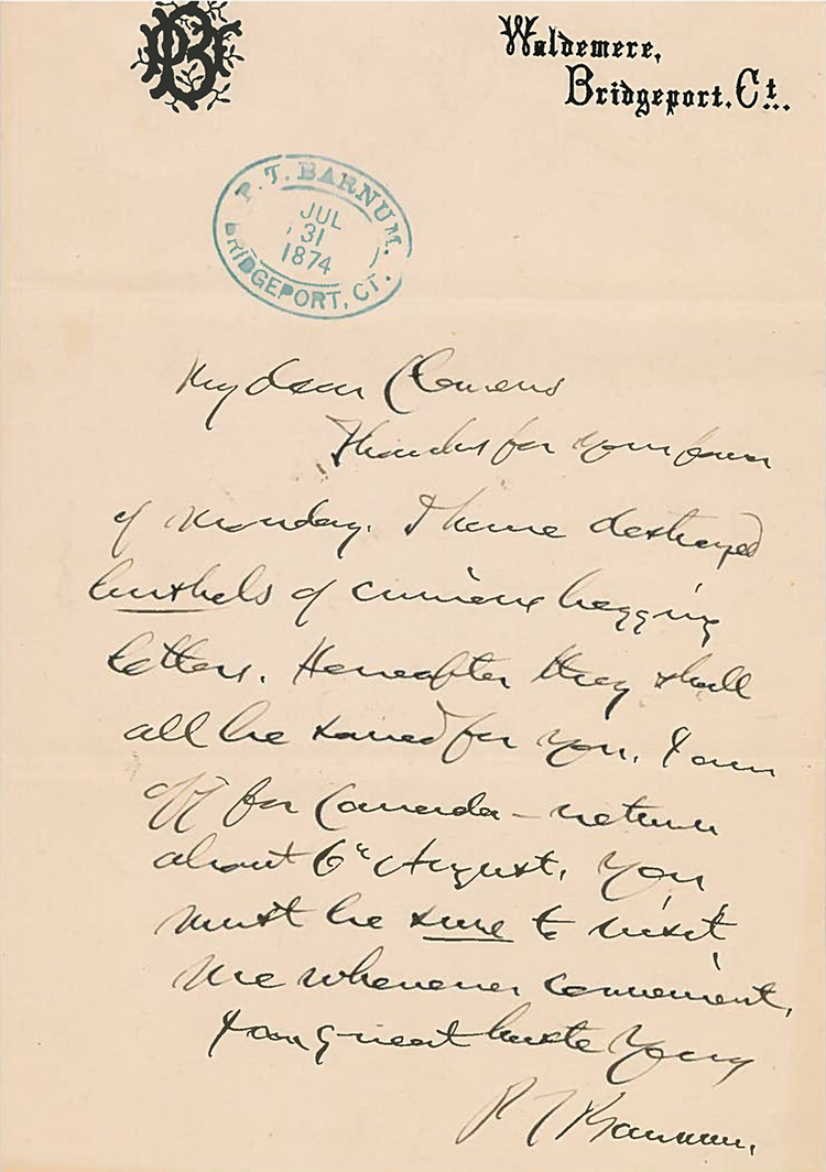 A letter written by P.T. Barnum to Mark Twain