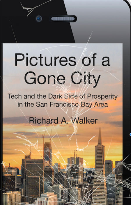 Broken iphone with background of SF, title of book Pictures of a Gone City