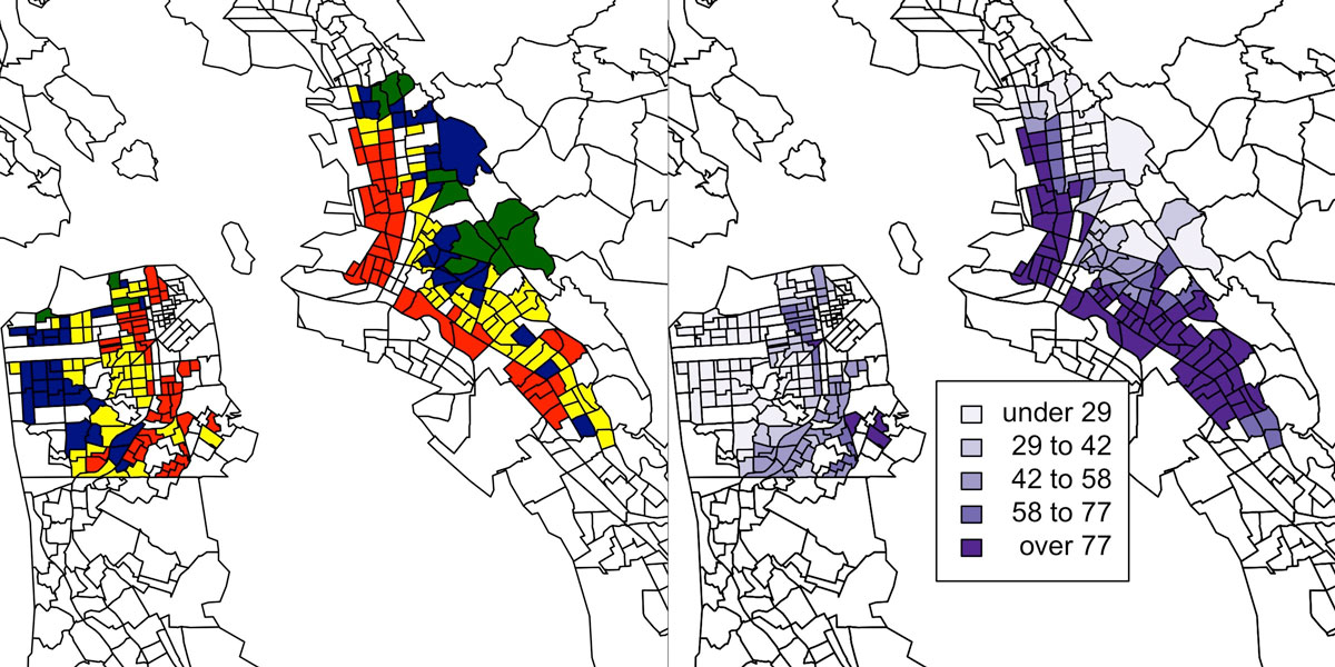 Two black and white maps of the Oakland and San Francisco bay area, with outlines of individual census tracts.