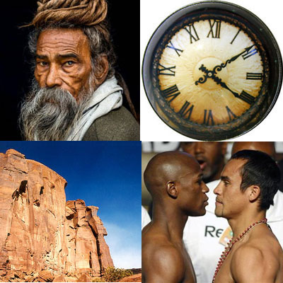 Top left, picture of old man with beard. Top right, a clock. Bottom left, a canyon. Bottom right, two men looking at each other