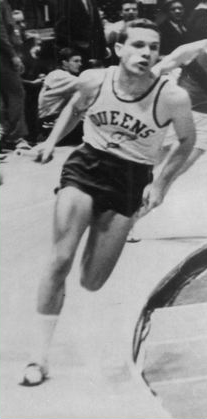 Brooks running in Madison Square Garden relay, 1962