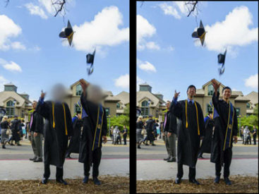 Graduates shown with blurred and regular faces.