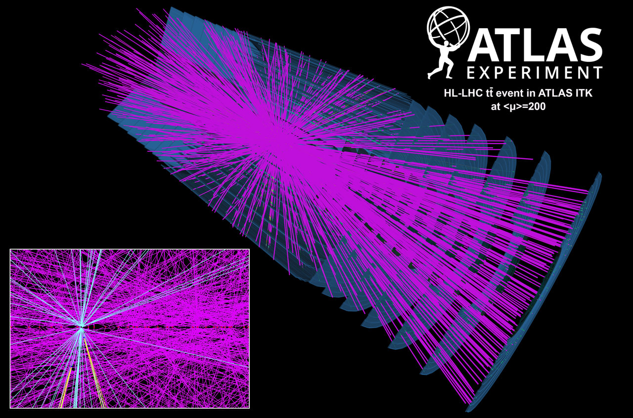 Display of a simulated High-Luminosity Large Hadron Collider (HL-LHC) particle collision event in an upgraded ATLAS detector.