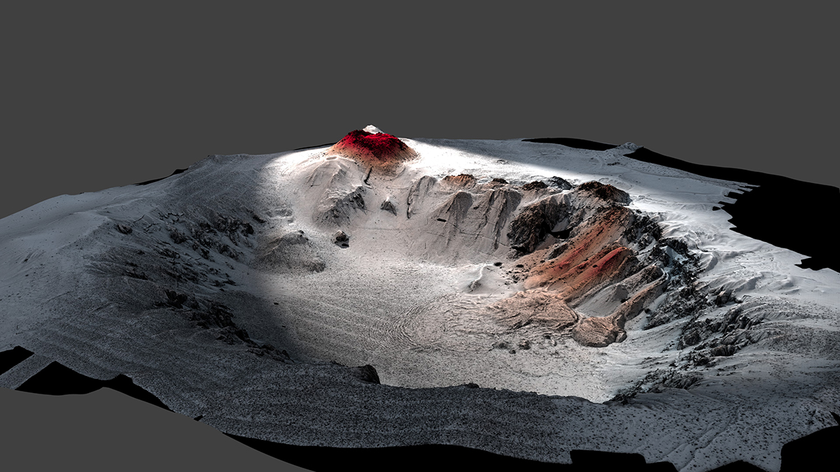 Havre volcano showing new lava from 2012 eruption in red