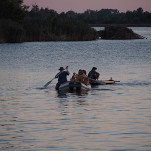 A.J. White and colleagues paddle out onto Horseshoe Lake.
