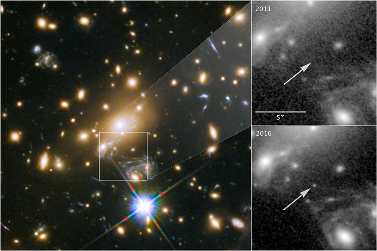 2,000 time magnification of  a distant star. Current magnification comparison to images taken in both 2011 and 2016, in which the star could not be seen