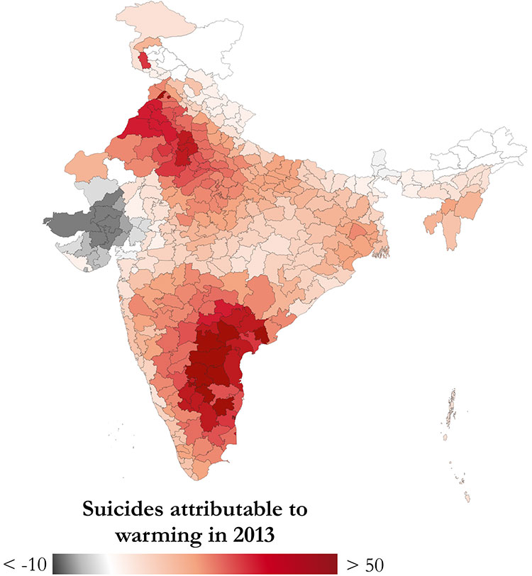 India map showing suicides in 2013 attributed to warming
