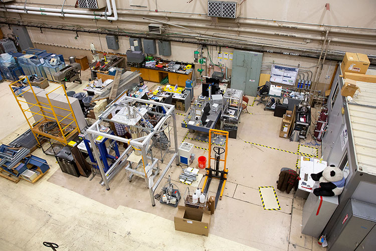 A photo from above of a physics laboratory space.