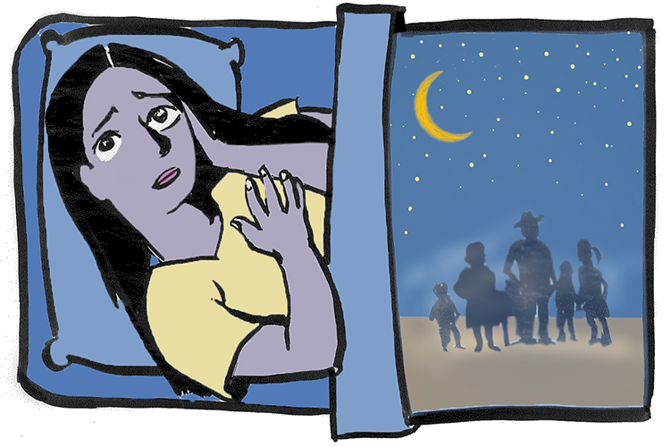 An illustration of a teenager sleepless in bed, next to an image of a family