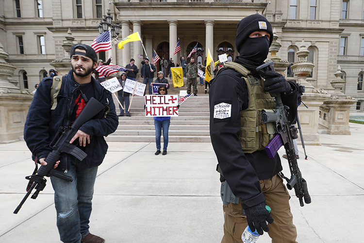 Armed protesters in Michigan rejected Gov. Gretchen Whitmer's statewide shutdown