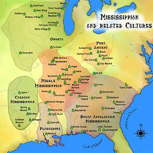 Map of ancient Mississippian cultures.
