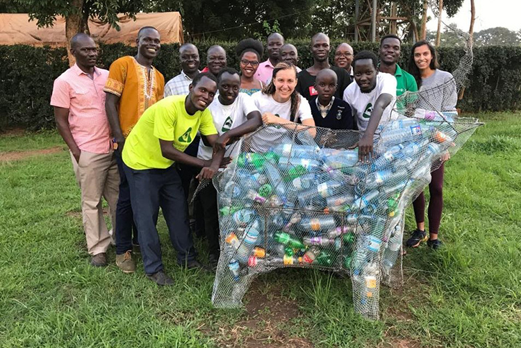 A collection bin for plastic recyclables — it's in the shape of an elephant (the cultural symbol of the Acoli people in Gulu) — helps launch Takataka Plastics pilot collection center
