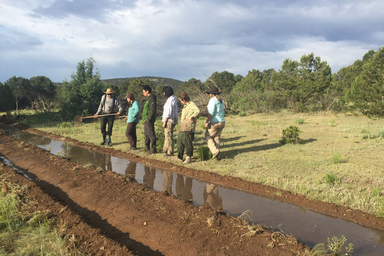 a team of people stand next to a irrigation ditch under a cloudy sky