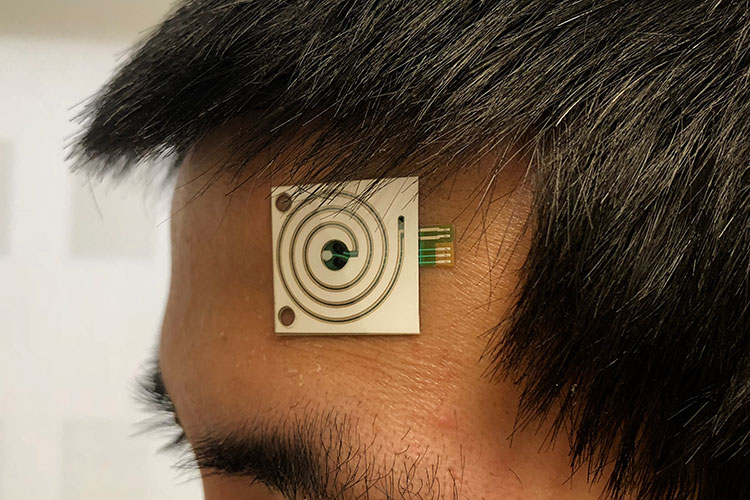 Wearable sensor on forehead
