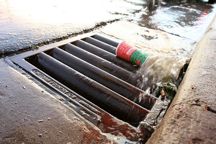 Water entering storm drain
