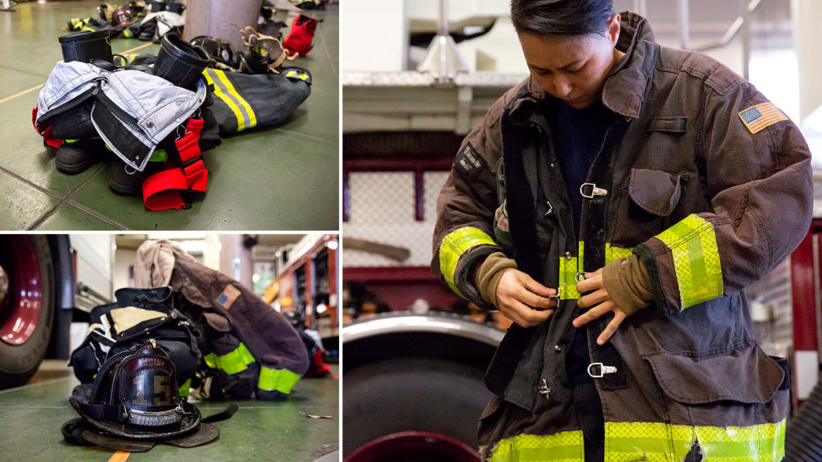 Firefighting foam and turnout gear, such as helmets, boots, and jackets, can be sources of PFAS exposure. UC Berkeley photo by Brittany Hosea-Small