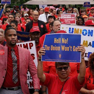 Union workers at rally
