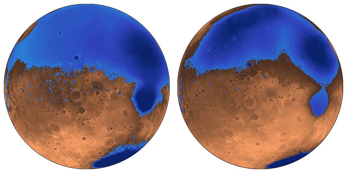 Illustration of early ocean in Mars called Arabia