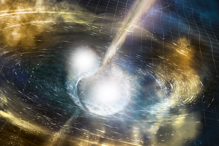 artistic concept of a neutron star merger with two orbs in the middle of the drawing
