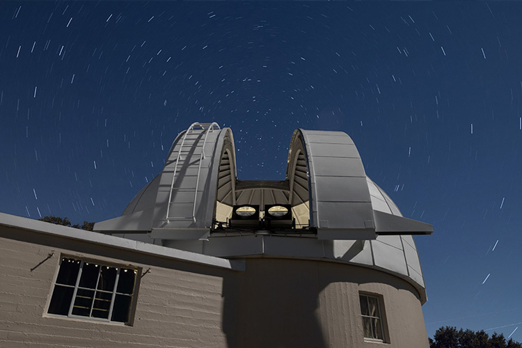 Lick Observatory's Astrograph Dome under a starry sky