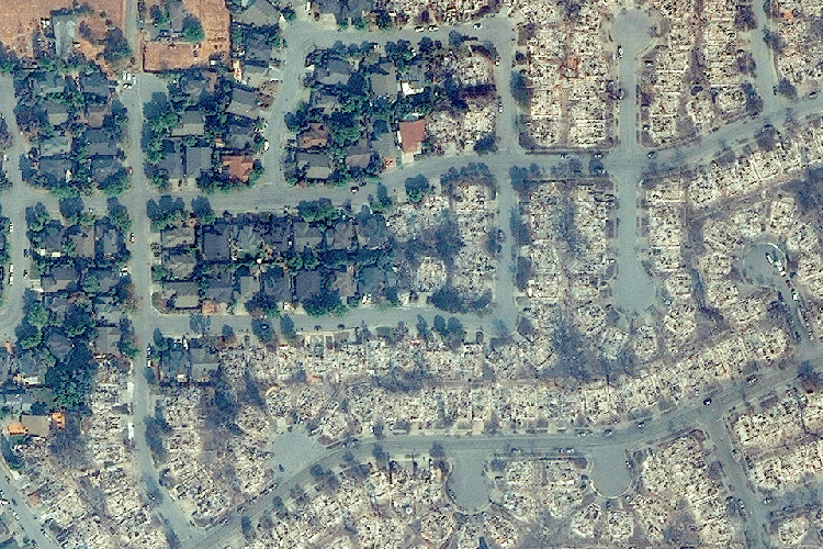 Satellite view of fire-devastated neighborhood in Santa Rosa (Photo by Overview News/DigitalGlobe).