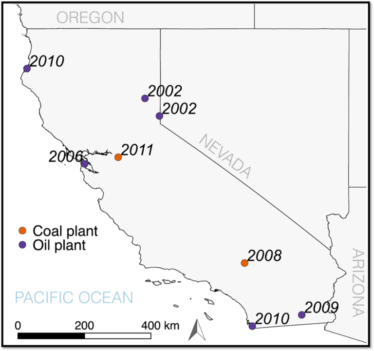 map of California showing locations of power plants closed between 2001 and 2011.