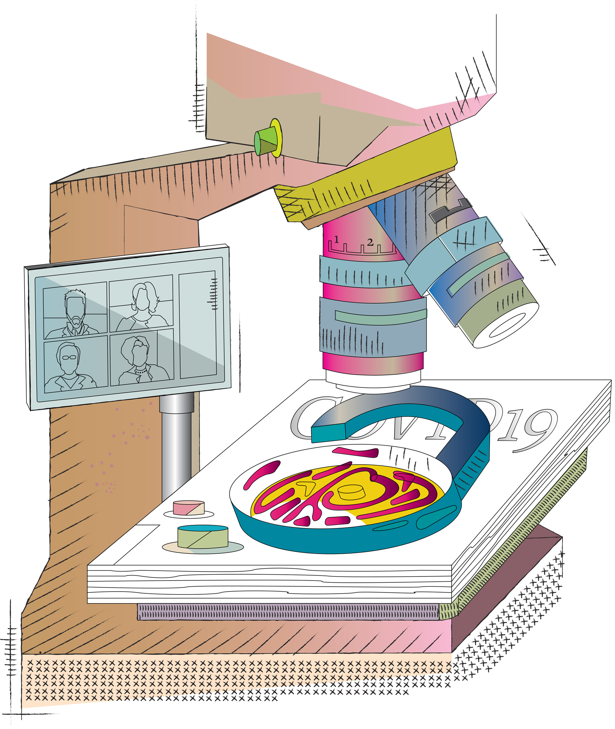 Illustration of microscope, dish with item and video conference image referencing people