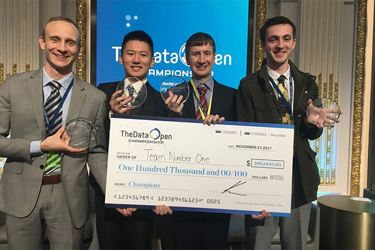 Winning students Eric Munsing, Allen Tang, Soeren Kuenzel and Jake Soloff
