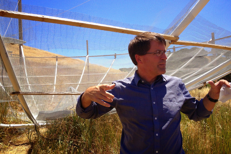 Astronomer David DeBoer at the site of the HERA array in South Africa.