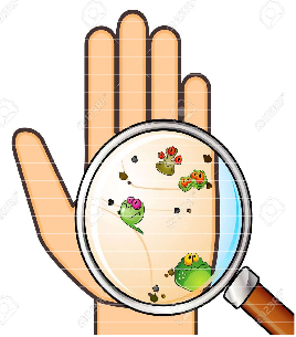An illustration of a hand with germs as seen up close with a magnifying glass.