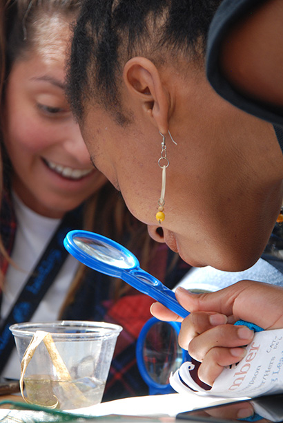 girls using a magnifying class to look at aquatic life in a cup of pond water