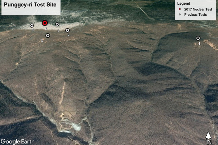 Google Earth image of Mt. Mantap in North Korea.