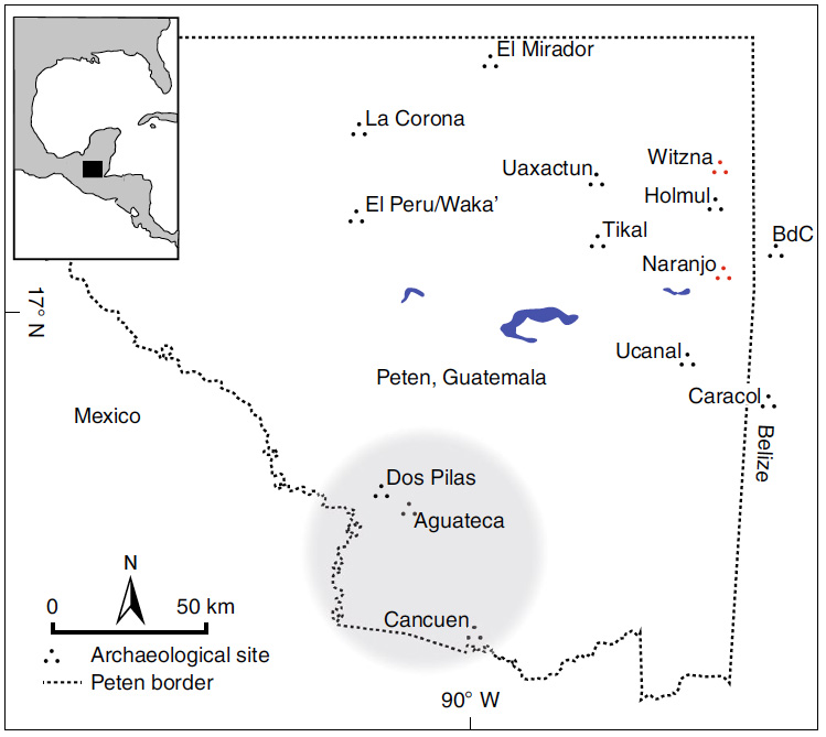 A map of ancient Mayan cities in Guatemala, including Witzna (upper right) near the border with Belize, where archaeologists and paleoclimatologists are investigating the role of climate in the decline of the Maya civilization.