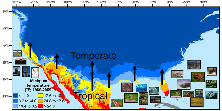 map showing animals that may move northward in the U.S. from the tropics