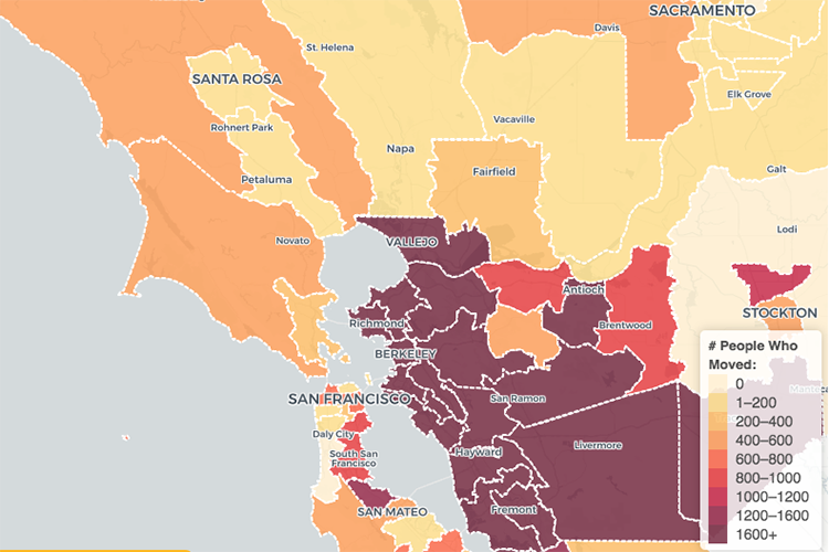 map of Alameda County showing where 1600 people moved