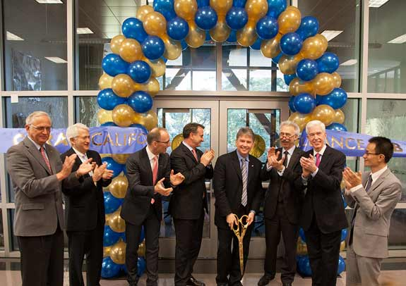 Former CoC Dean Richard Mathies, UCLA Chancellor Gene Block, BASF President of Process Research and Chemical Engineering Peter Schuhmacher, BASF President of Biological and Effect Systems Research Harald Lauke, CoC Dean Douglas Clark, UC Berkeley Chancellor Nicholas Dirks, former California Governor Gray Davis, Professor of Chemistry and CARA Director Peidong Yang celebrate cutting the ribbon to officially open the CARA center.