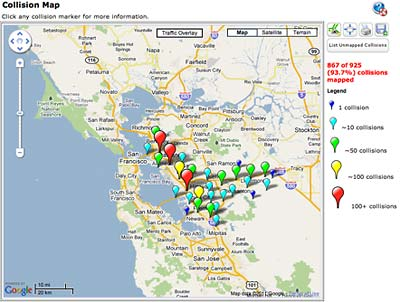 New site maps states severe traffic collisions Research UC Berkeley