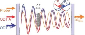To measure force, a cloud of atoms (gray oval) are trapped in an optical cavity created by two standing-wave light fields, ODT A and ODT B. The amplitude of ODT B is varied to create a force that is optomechanically transduced onto the phase of a probe light for measurement.