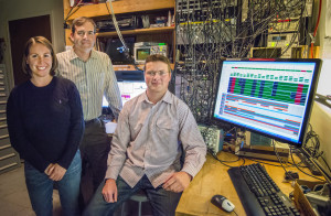 From left, Sydney Schreppler, Dan Stamper-Kurn and Nicolas Spethmann were part of a team that detected the smallest force ever measured using a unique optical trapping system that provides ultracold atoms. Photo: Roy Kaltschmidt