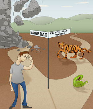 Cartoon showing person at two paths: Maybe bad going one way; potentially worse going in the other.