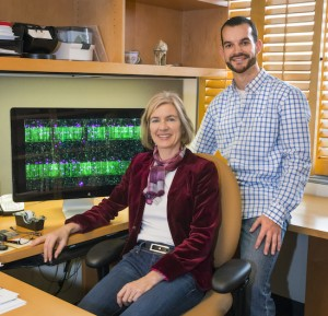 Jennifer Doudna and Samuel Sternberg used a combination of single-molecule imaging and bulk biochemical experiments to show how the RNA-guided Cas9 enzyme is able to locate specific 20-base-pair target sequences within genomes that are millions to billions of base pairs long. Photo: Roy Kaltschmdit
