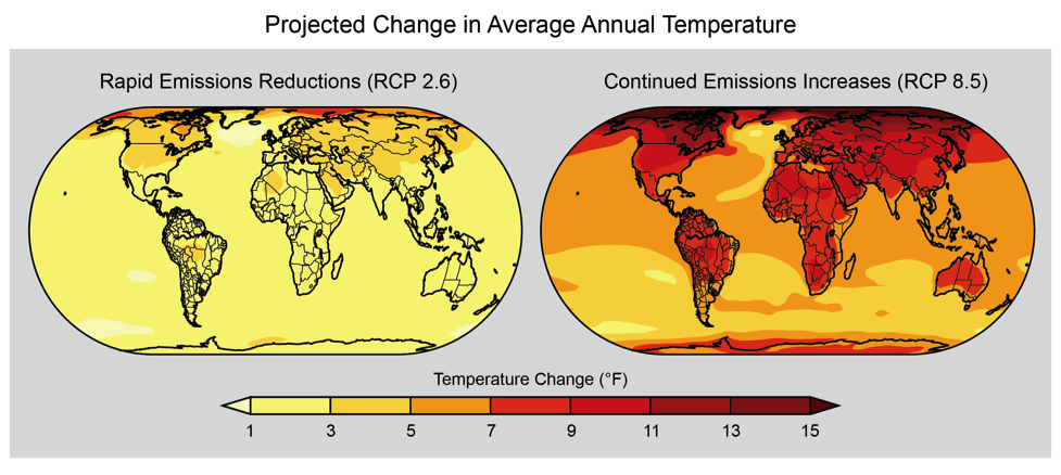 Projected Change in Average Annual Temperature