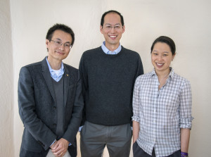 (From left) Peidong Yang, Christopher Chang and Michelle Chang led the development of an artificial photosynthesis system that can convert CO2 into valuable chemical products using only water and sunlight. Photo: Roy Kaltschmidt