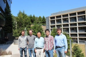 (From left) Chris Thompson, Noah Bronstein, Lin-Wang Wang, Yingjie Zhang and Danylo Zherebetskyy at Berkeley Lab's Molecular Foundry.